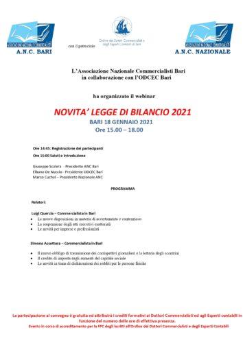 NOVITA' LEGGE DI BILANCIO 2021 - webinar del 18 gennaio 2021
